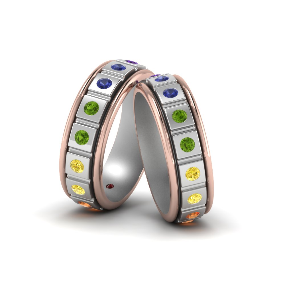 rounded elegant gay cutout rainbow rings titanium com wedding matvuk ring of beautiful with