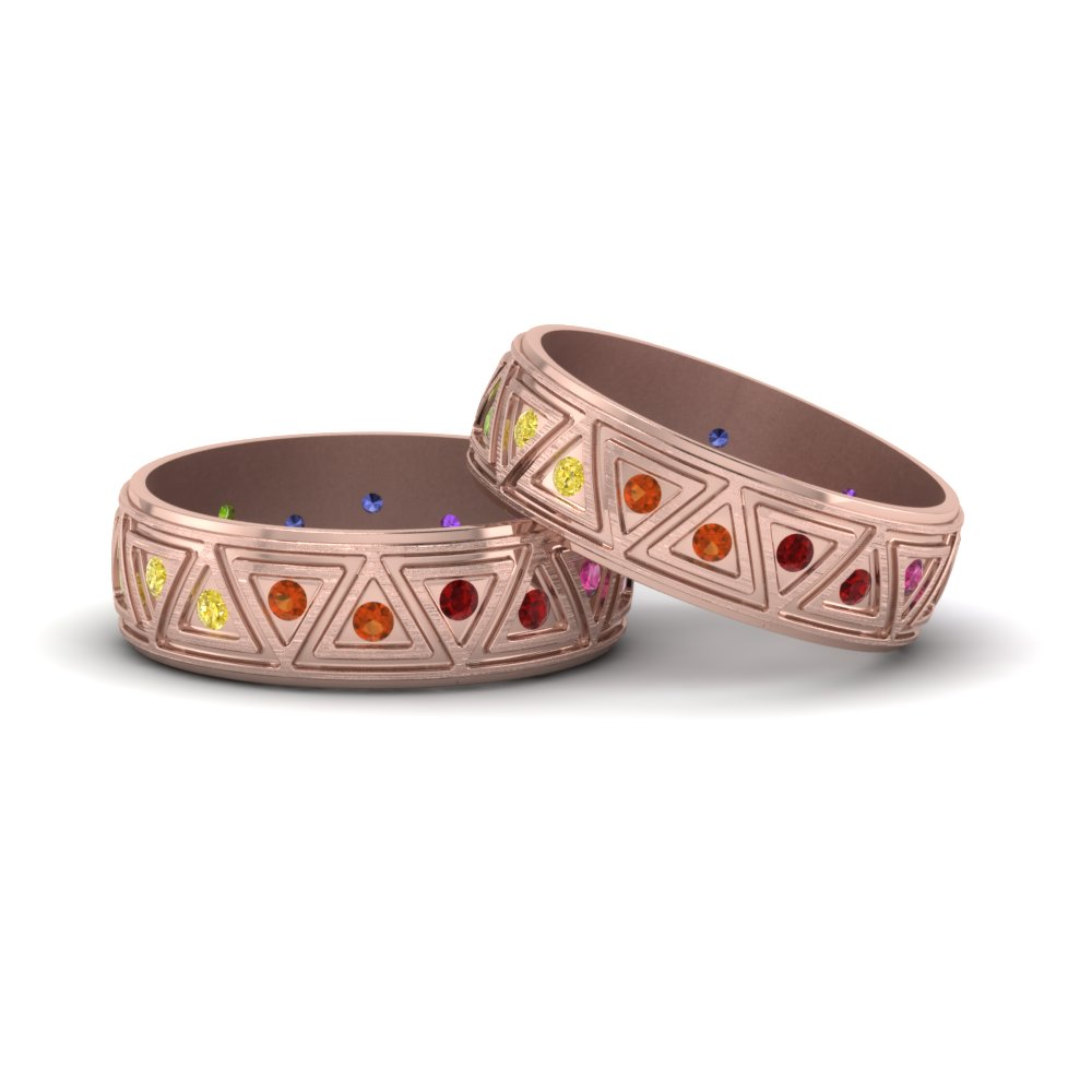 Rainbow Gay Wedding Rings In 14K Rose Gold