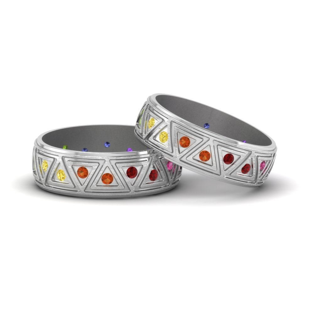 rainbow gay wedding rings in 14K white gold FDLG1085BG NL WG GS