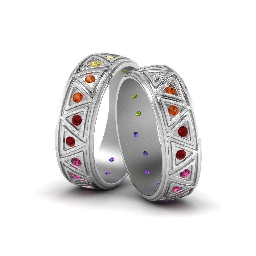stainless couple my promise rainbow products spirit wedding steel colorful rings soul
