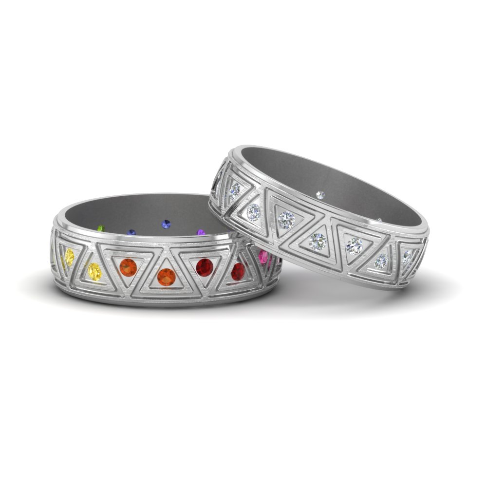 engagement wedding rings rainbow collection gay equalli stack lesbian and prong
