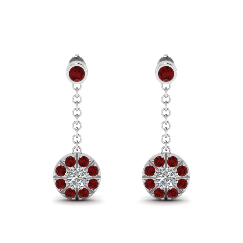 Ruby Halo Drop Dangle Diamond Earring In Fdear67096grudrangle1 Nl Wg