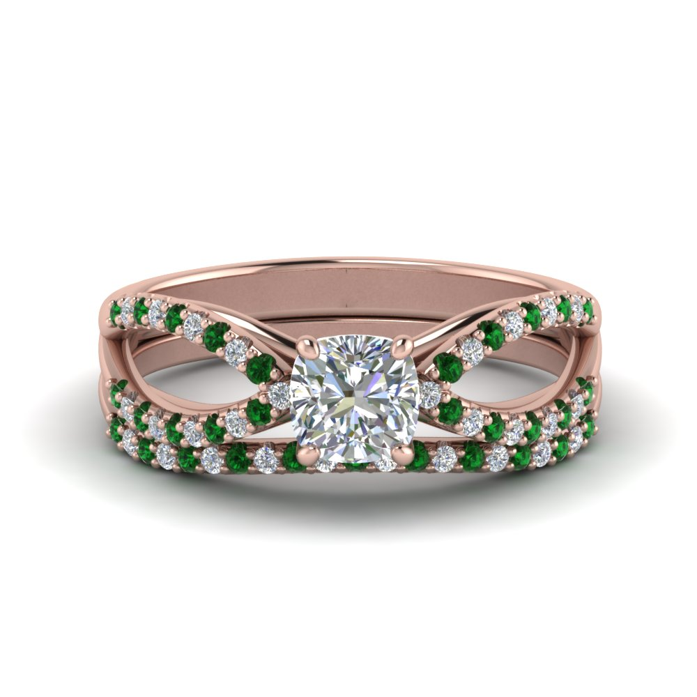 reverse pave split shank cushion diamond wedding ring set with emerald in FD123748CUGEMGR NL RG.jpg