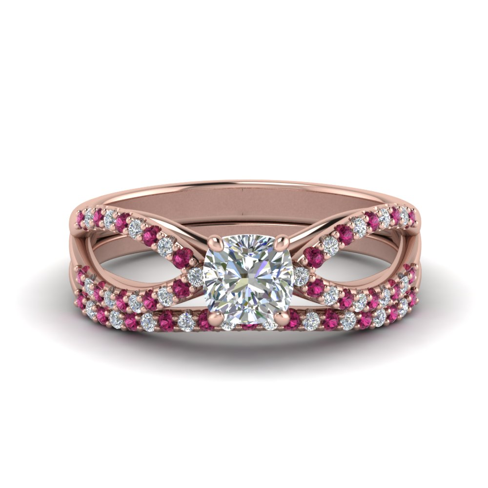 reverse pave split shank cushion moissanite wedding ring set with pink sapphire in FD123748CUGSADRPI NL RG.jpg