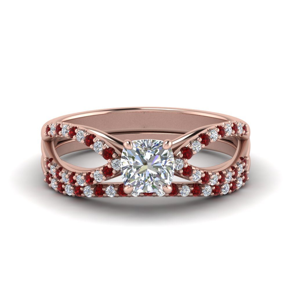 reverse pave split shank cushion diamond wedding ring set with ruby in FD123748CUGRUDR NL RG.jpg