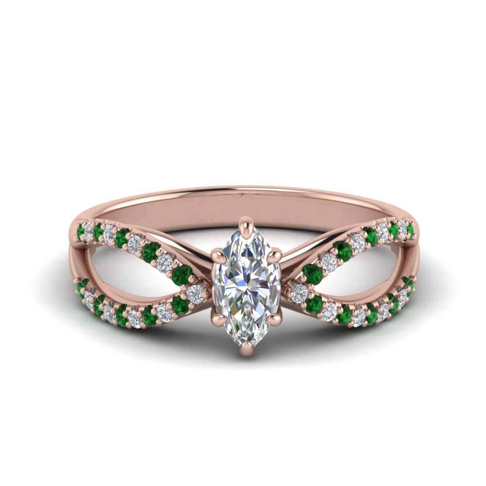 reverse pave split shank marquise diamond engagement ring with emerald in FD123748MQRGEMGR NL RG.jpg