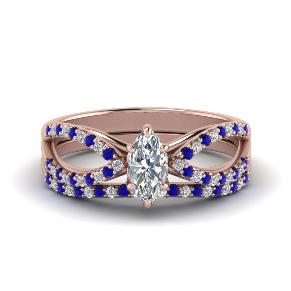 Marquise Shaped Wedding Sets With Sapphire
