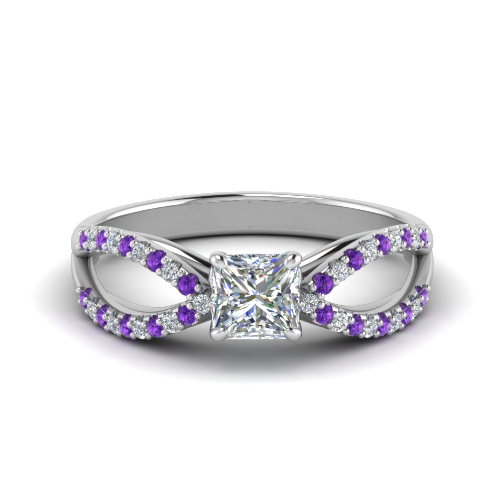 Purple Topaz Split Princess Cut Ring