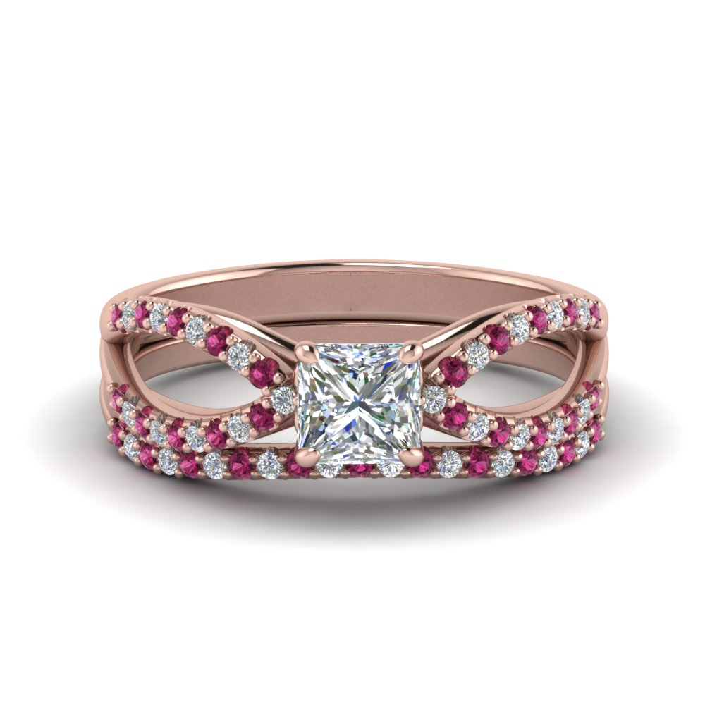 reverse pave split shank princess cut moissanite wedding ring set with pink sapphire in FD123748PRGSADRPI NL RG.jpg