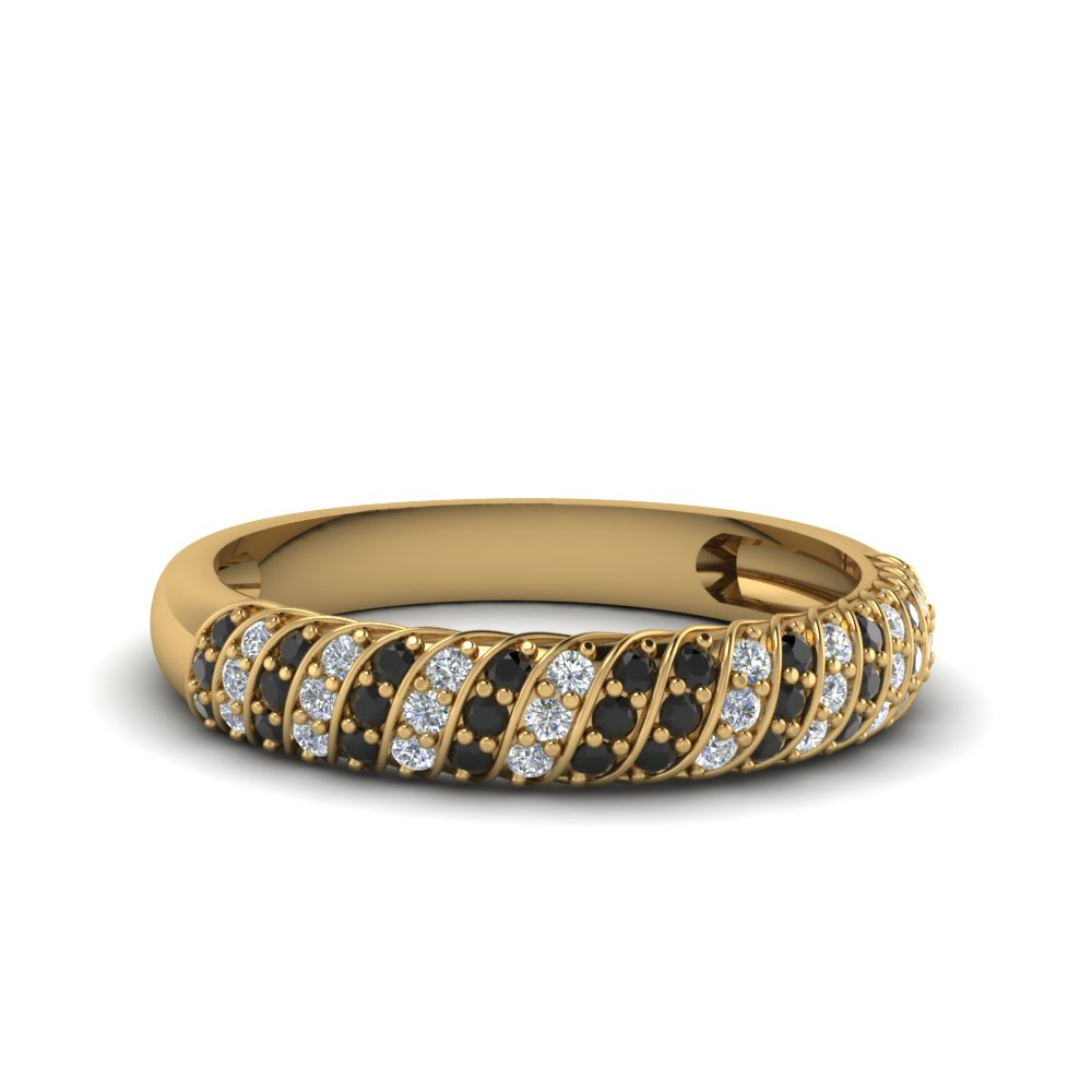 rope design pave wedding band with black diamond in 14K yellow gold FDENS3048BGBLACK NL YG