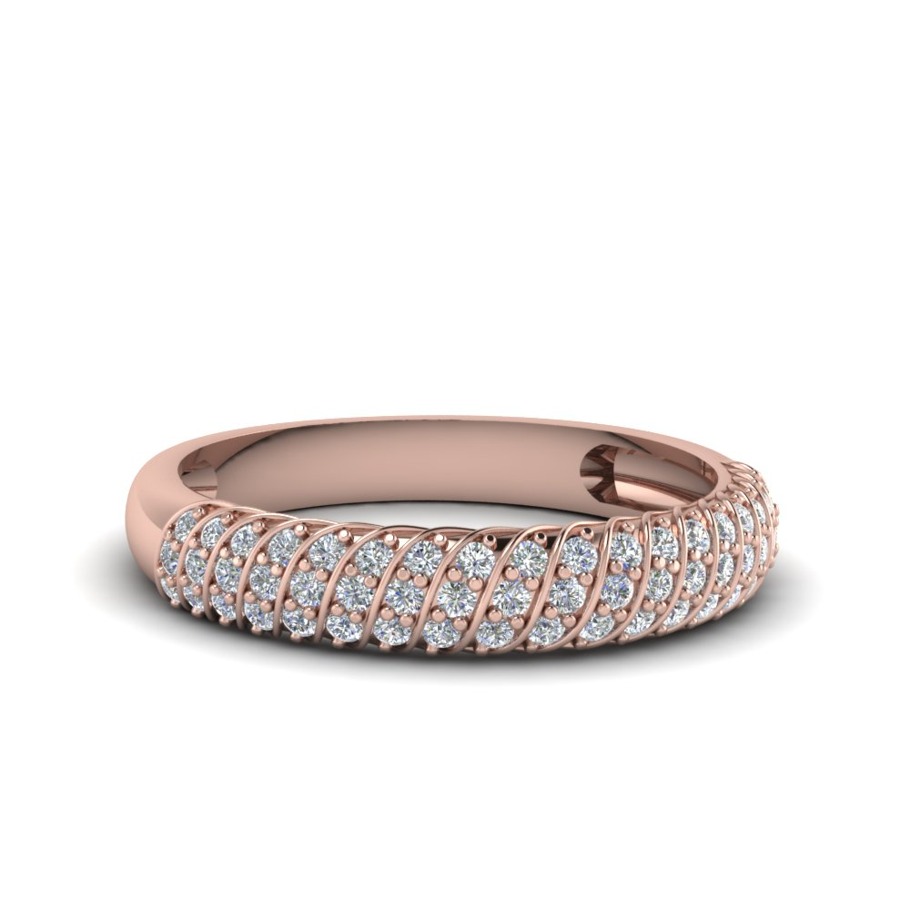rope design pave diamond wedding band in 14K rose gold FDENS3048B NL RG