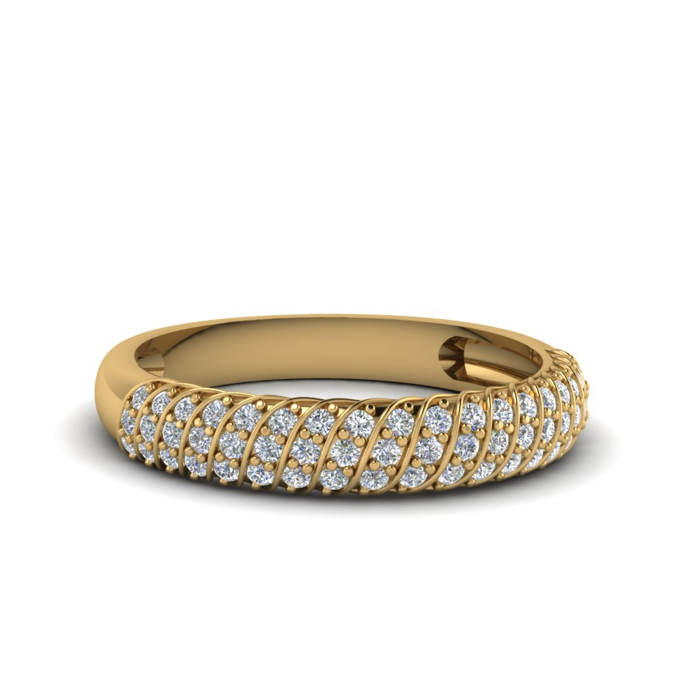 rope design pave diamond wedding band in 14K yellow gold FDENS3048B NL YG