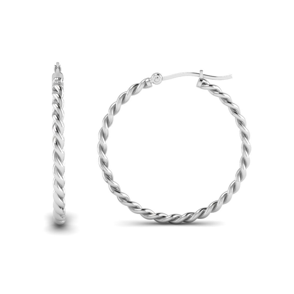 rope hoop earring for women in sterling silver FDEAR1100 NL WG