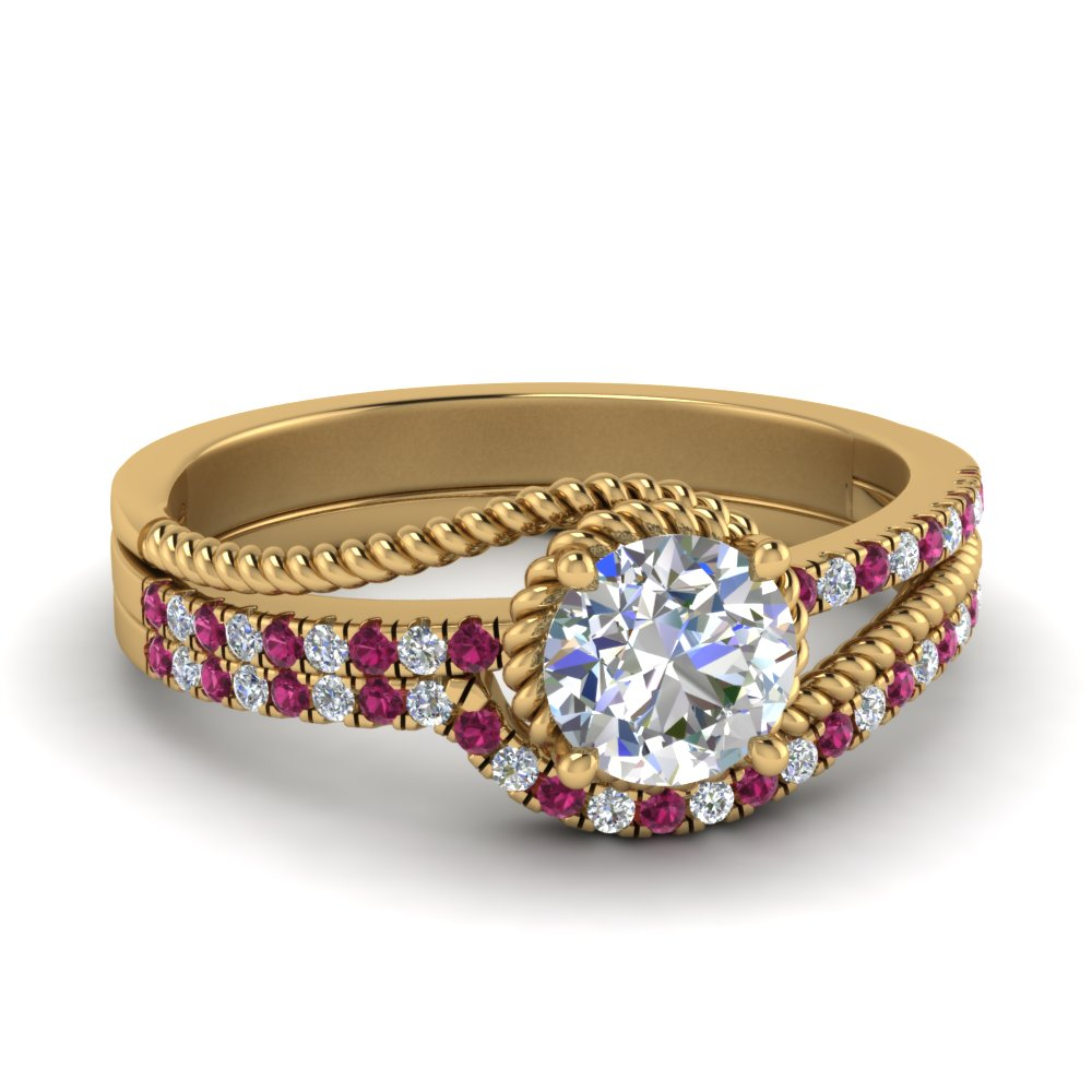 rope-split-shank-moissanite-wedding-ring-set-with-pink-sapphire-in-FD124087ROGSADRPI-NL-YG