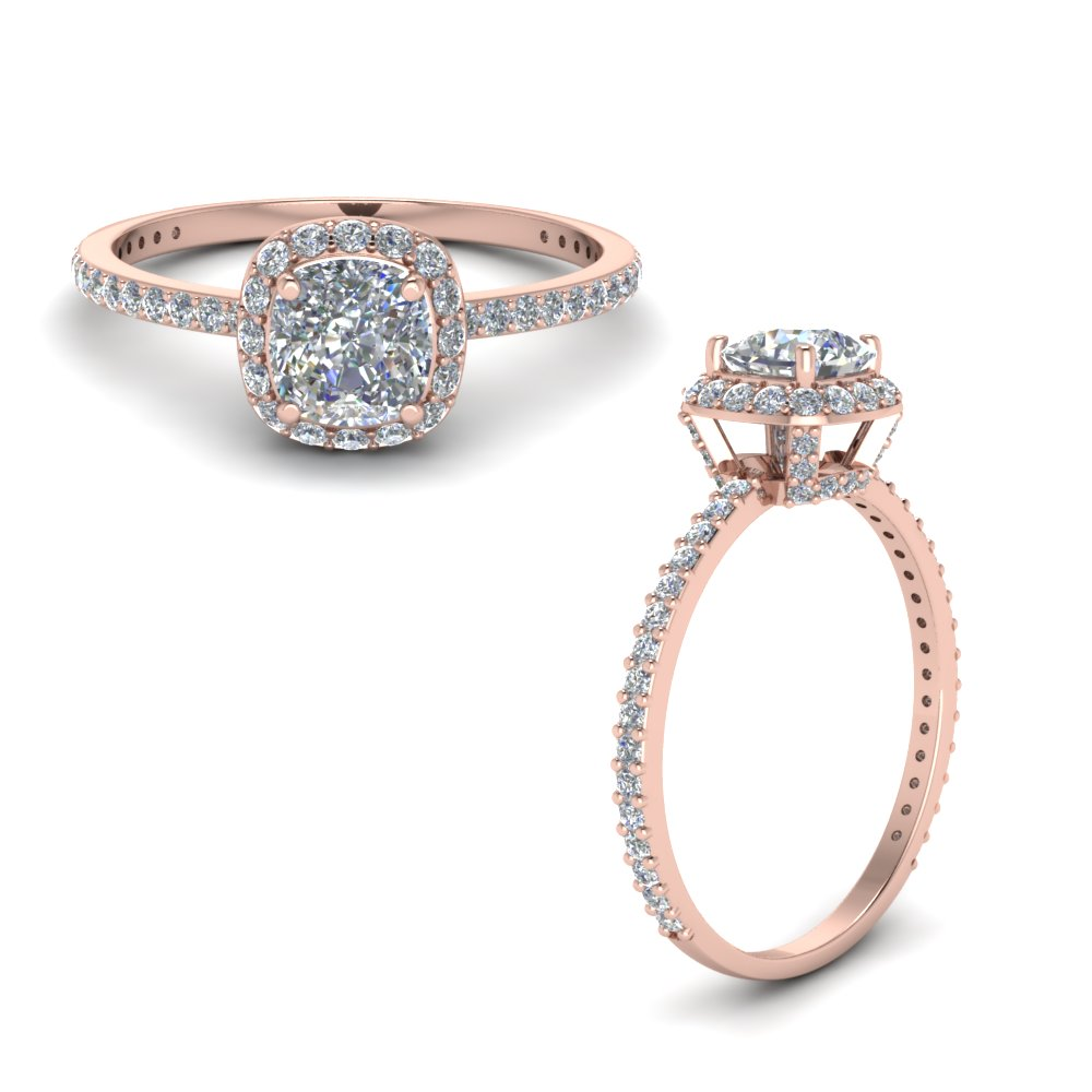 Rose Gold Halo Diamond Rings