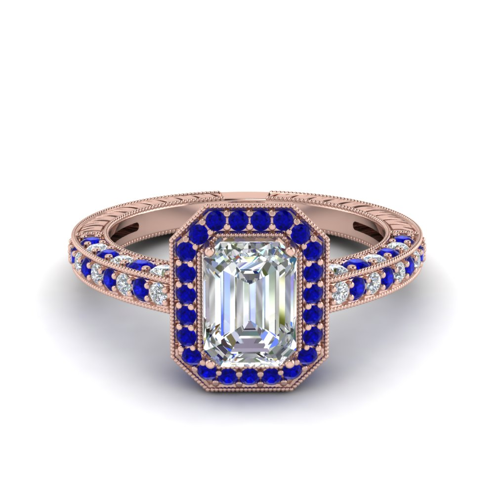 vintage halo emerald cut diamond engagement ring with sapphire in FDENR6543EMRGSABL NL RG