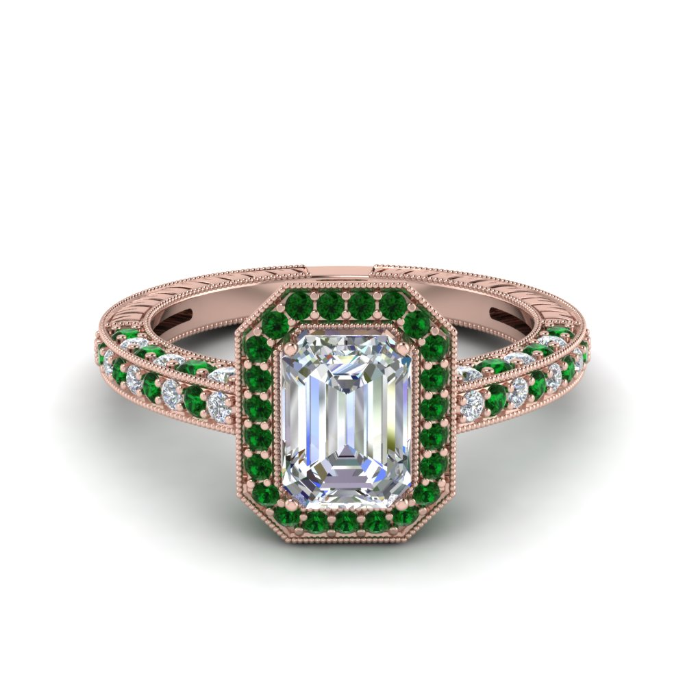 vintage halo emerald cut diamond engagement ring with emerald in FDENR6543EMRGEMGR NL RG