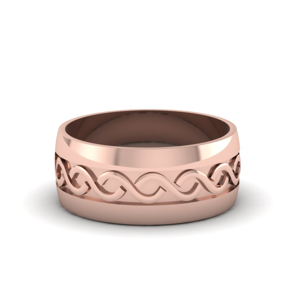 rose gold hand engraved infinity mens wedding band in 14K rose gold FDM918B NL RG