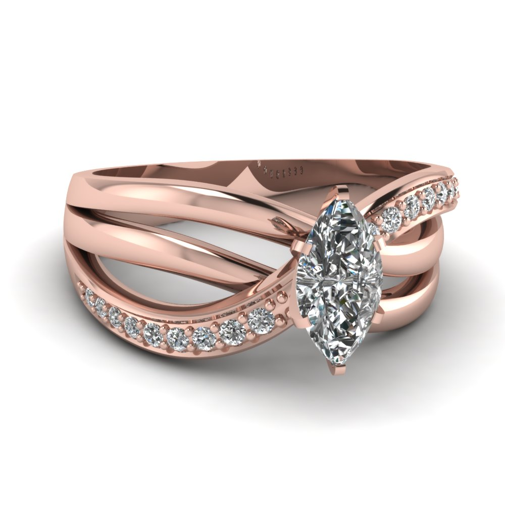 rose gold interwoven diamond discounted engagement ring FD67814MQR NL RG