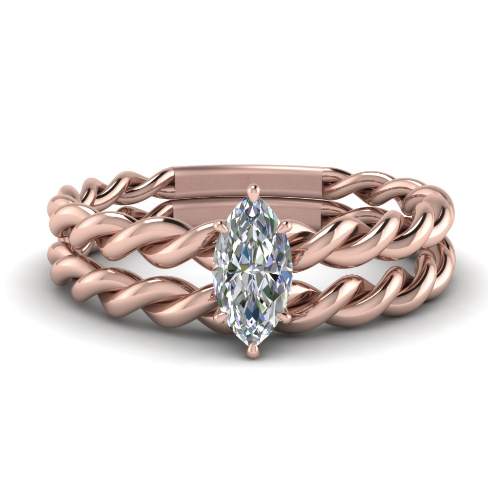 Marquise Shaped Twisted Rope Ring Set