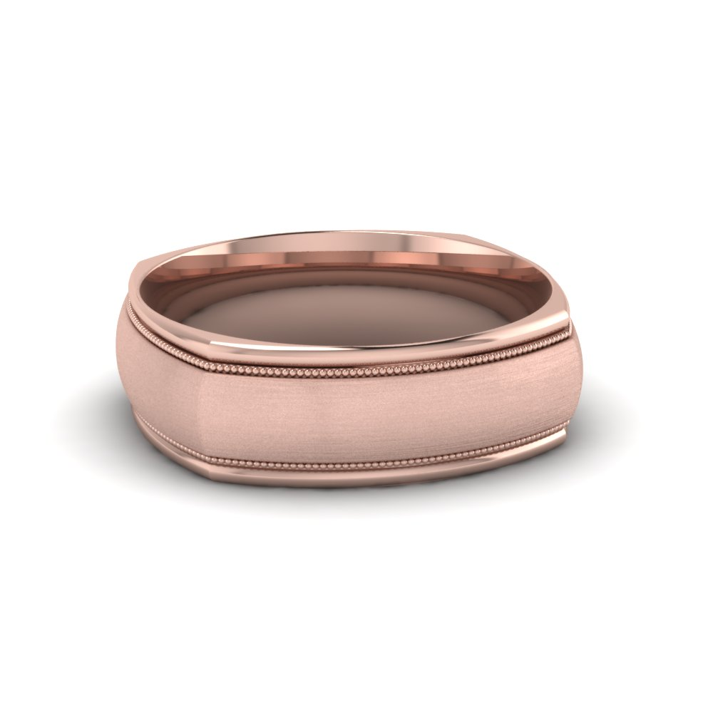 Square Rose Gold Milgrain Band