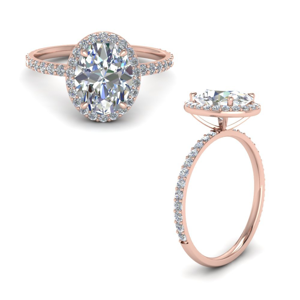 Rose Gold Oval Halo Diamond Engagement Ring