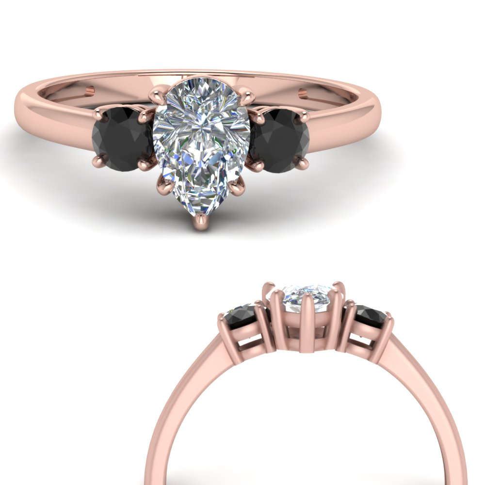 basket prong pear 3 stone engagement ring with black diamond in FDENS3106PERGBLACKANGLE3 NL RG.jpg