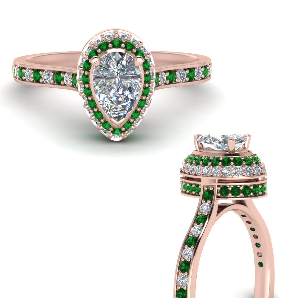 teardrop under halo high set diamond engagement ring with emerald in FDENS1692PERGEMGRANGLE3 NL RG.jpg