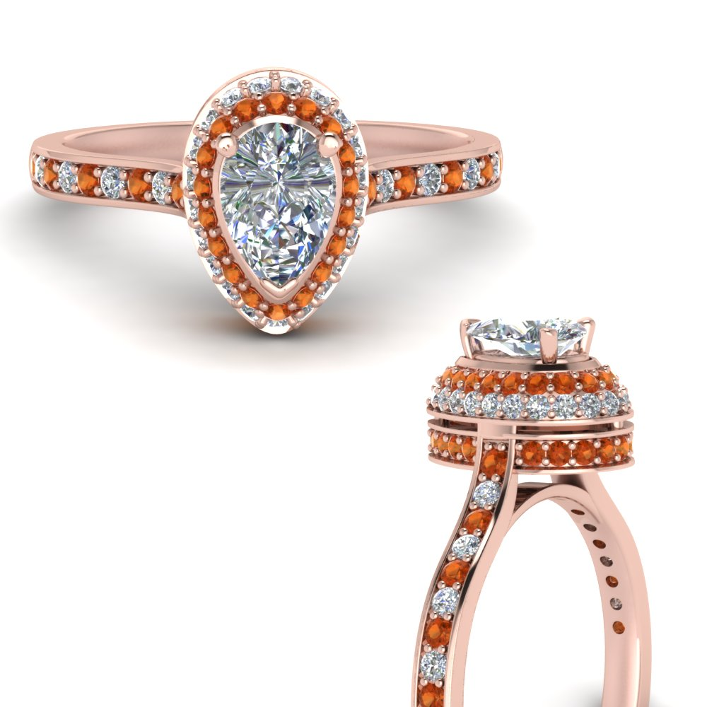 teardrop under halo high set diamond engagement ring with orange sapphire in FDENS1692PERGSAORANGLE3 NL RG.jpg