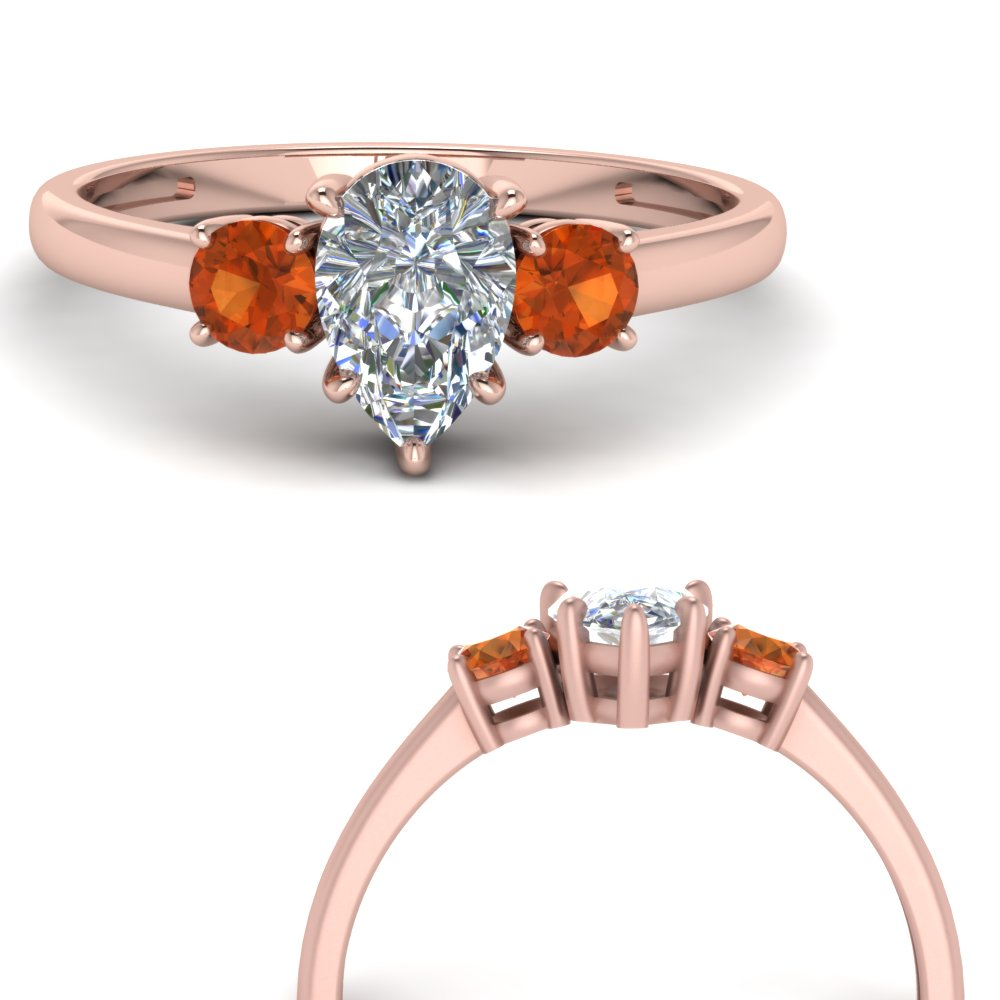 basket prong pear diamond 3 stone engagement ring with orange sapphire in FDENS3106PERGSAORANGLE3 NL RG.jpg