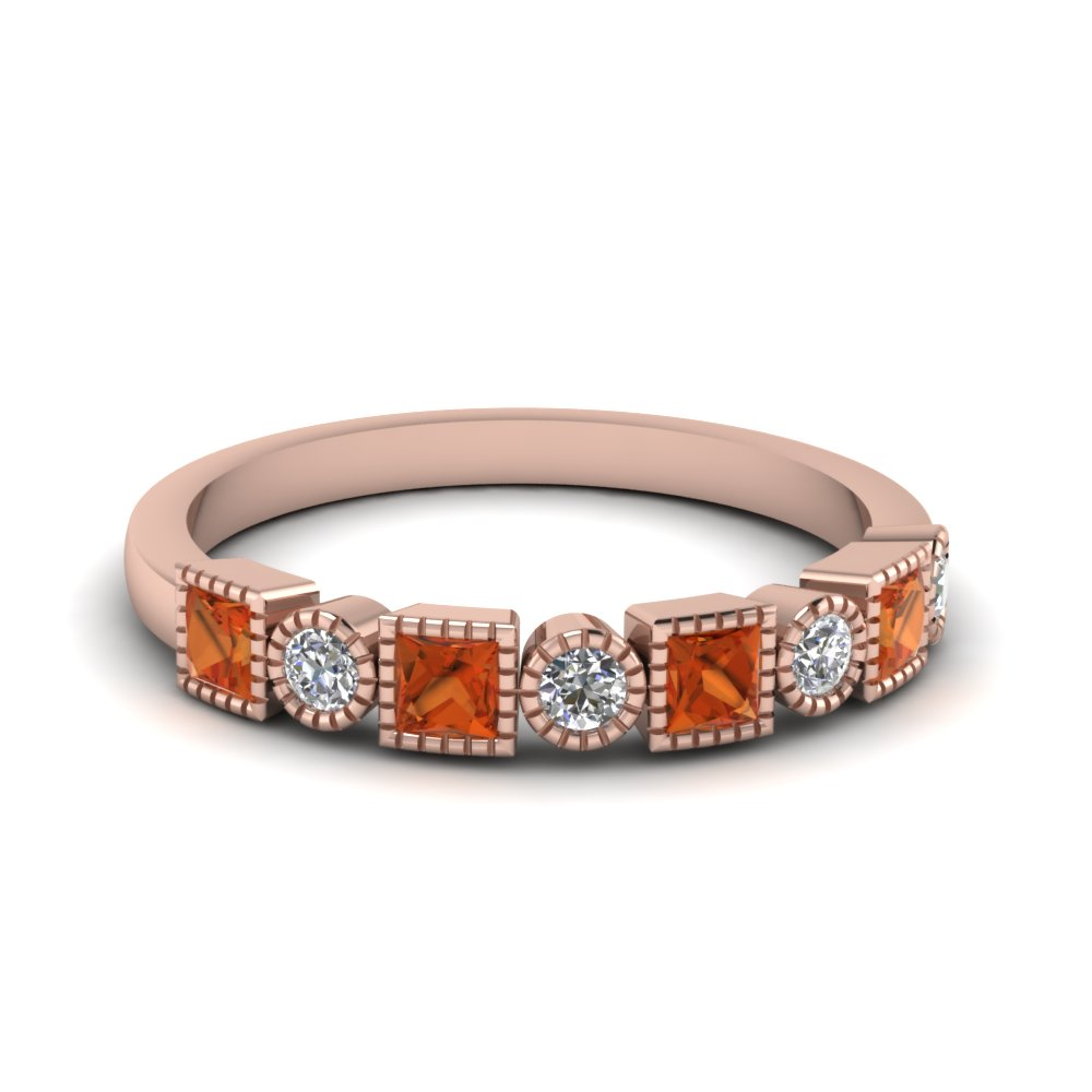 diamond art deco band with orange sapphire in FD64626BGSAOR NL RG