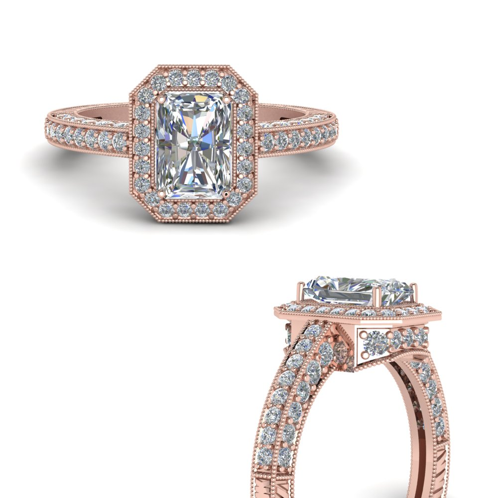 Radiant Diamond Halo Rings