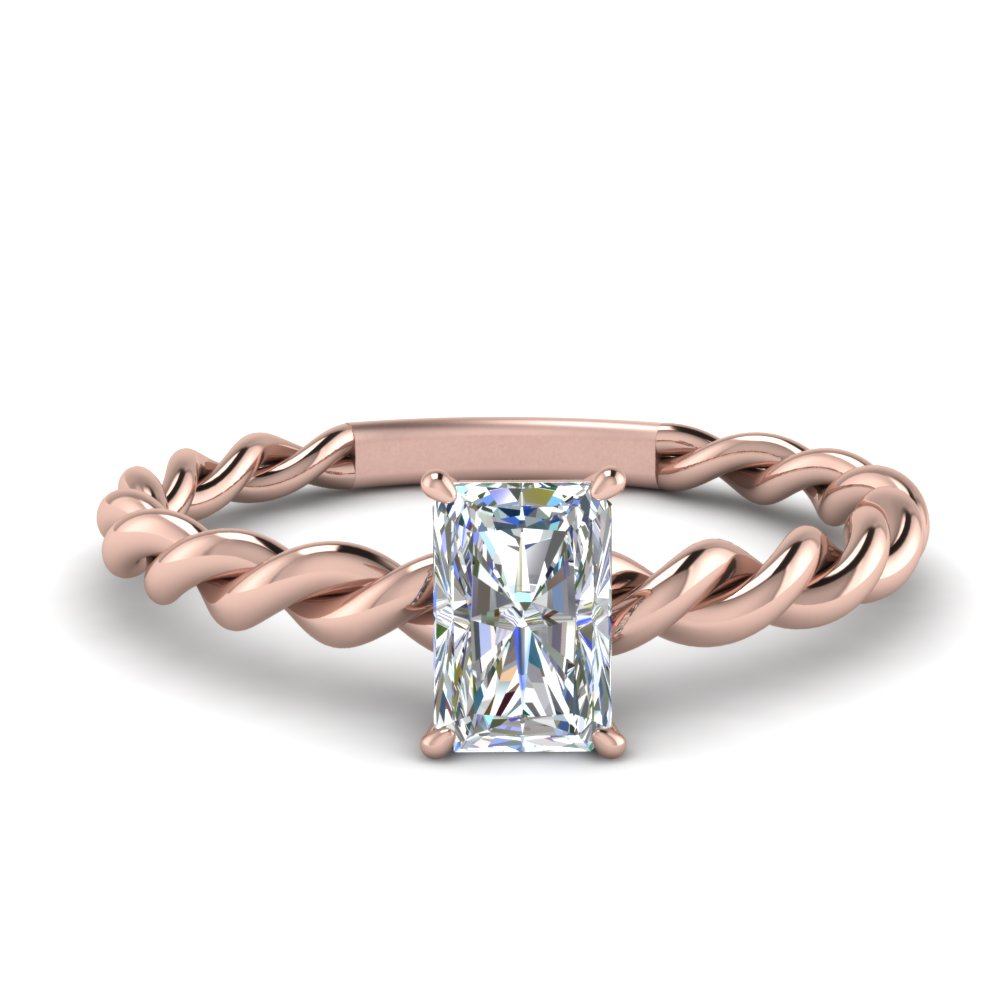 364383680 Radiant Solitaire Braided Engagement Ring In 14K Rose Gold ...