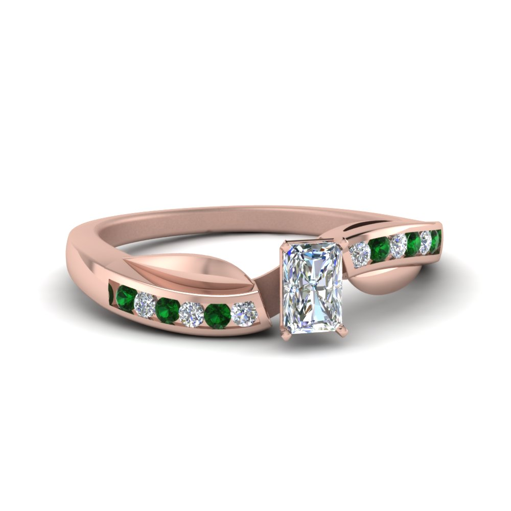 petal channel set radiant diamond engagement ring with emerald in FDENS3083RARGEMGR NL RG