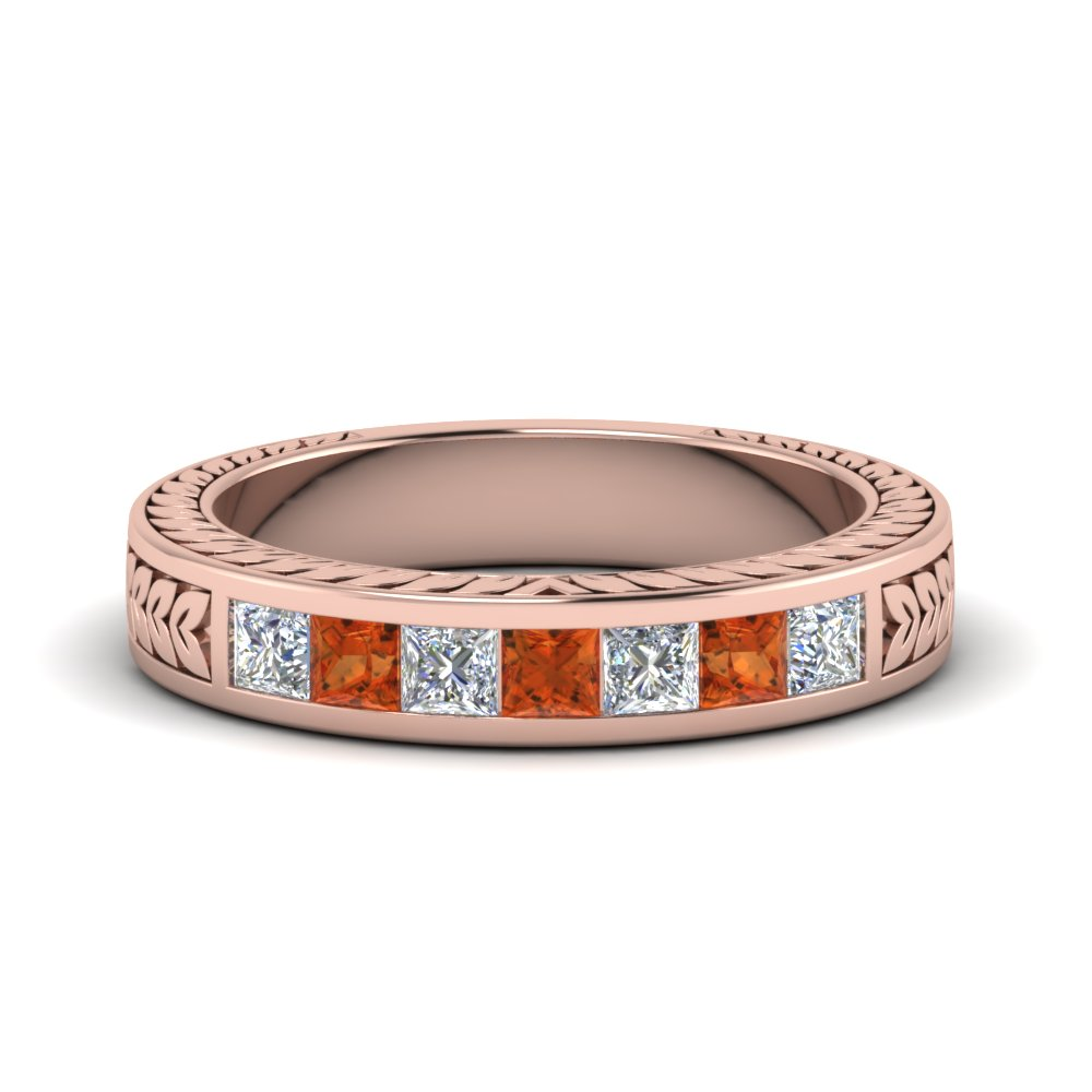 engraved princess cut diamond channel wedding band with orange sapphire in FDWB1327GSAOR NL RG