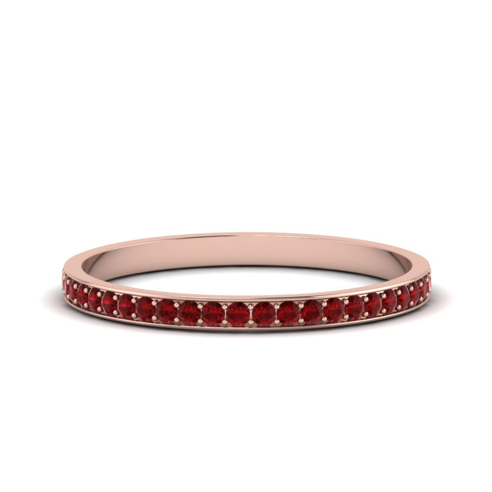 thin pave ruby wedding band in FDENS3195BGRUDR NL RG GS