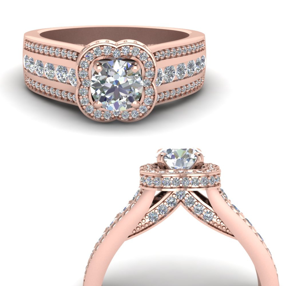 hidden halo floral diamond engagement ring in FD67945RORANGLE3 NL RG.jpg