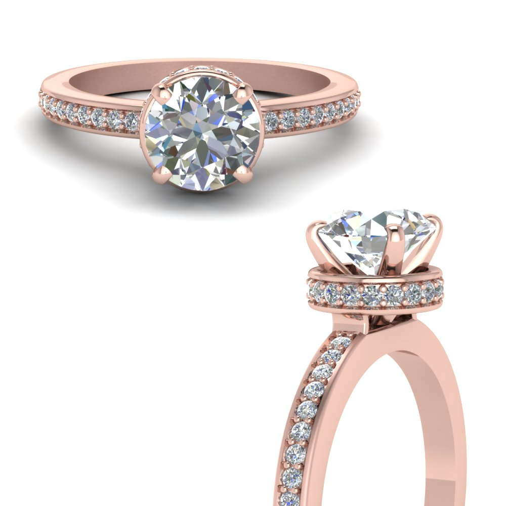pave hidden halo diamond engagement ring in FDENS3090RORANGLE3 NL RG