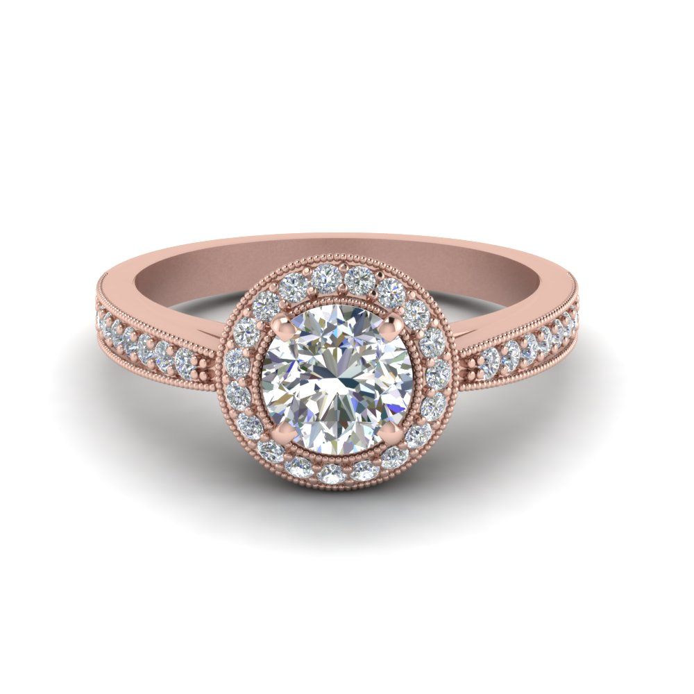 Milgrain Halo Pave Engagement Ring