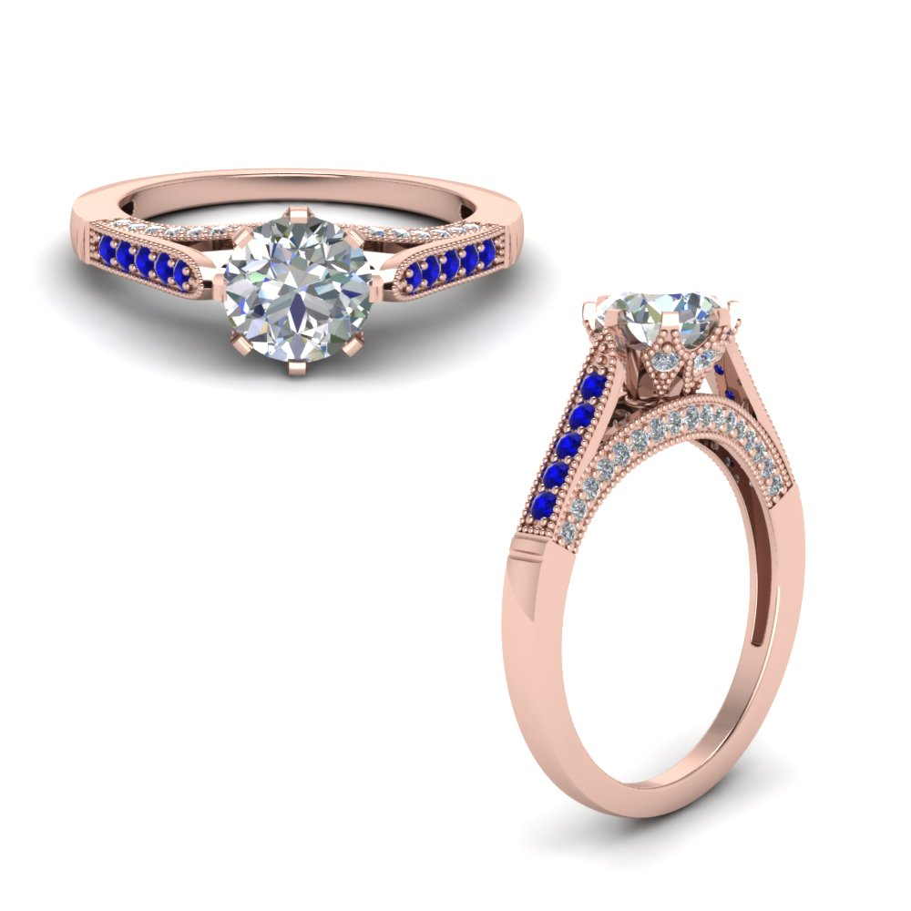 cathedral milgrain diamond engagement ring with sapphire in FDENR8668RORGSABLANGLE1 NL RG