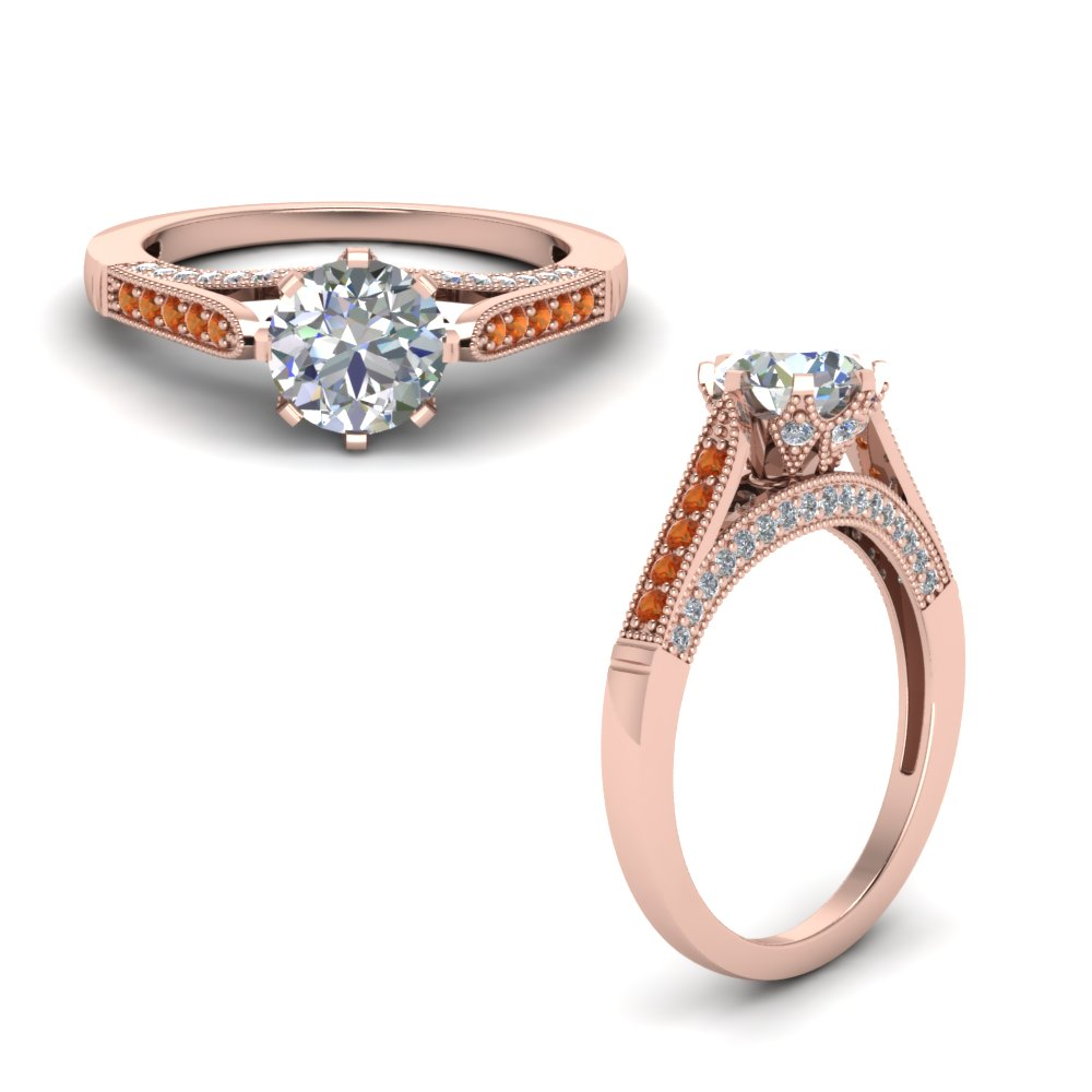 cathedral milgrain diamond engagement ring with orange sapphire in FDENR8668RORGSAORANGLE1 NL RG