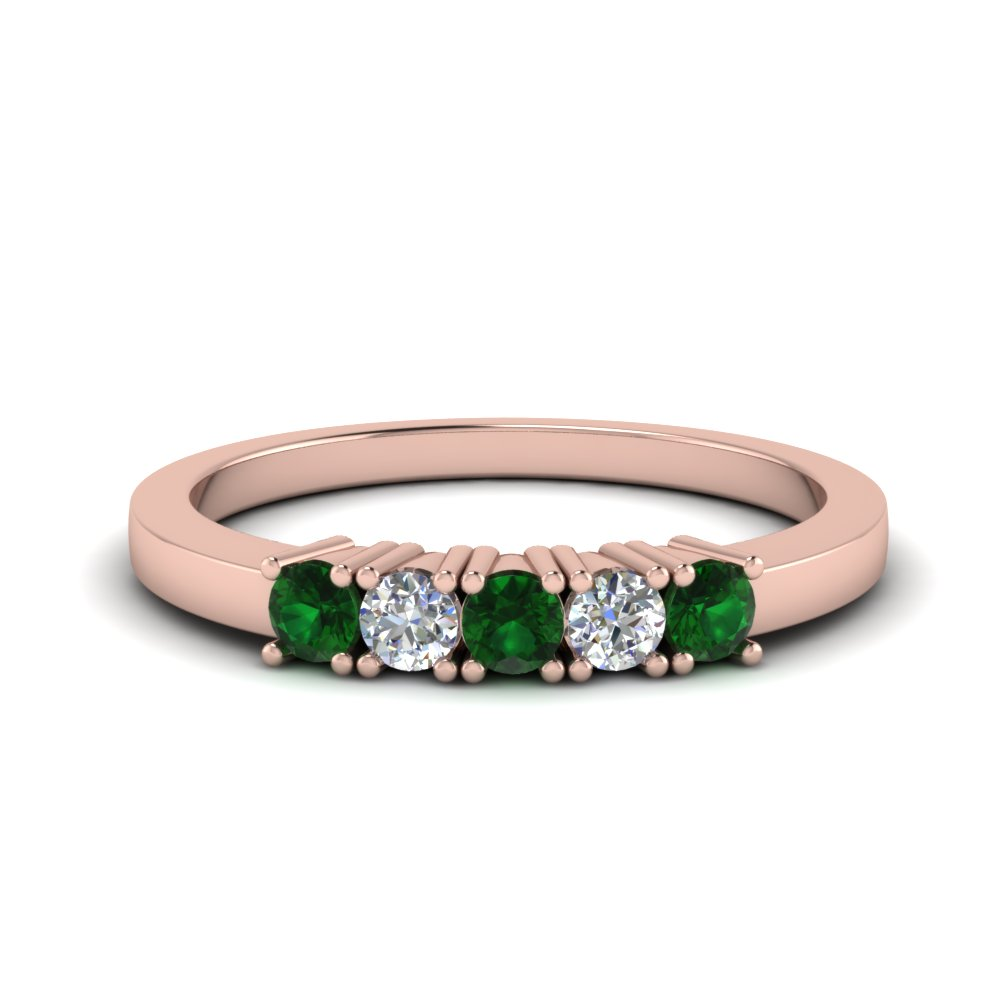 five stone anniversary band with emerald in FDWB144ROGEMGR NL RG.jpg