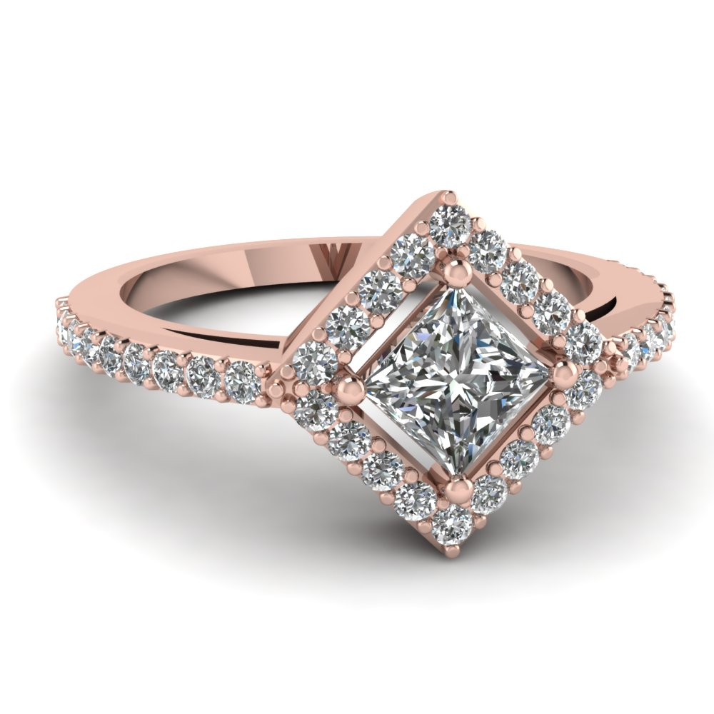 Rose Gold Square Halo Diamond Discounted Engagement Ring In 14K Rose Gold