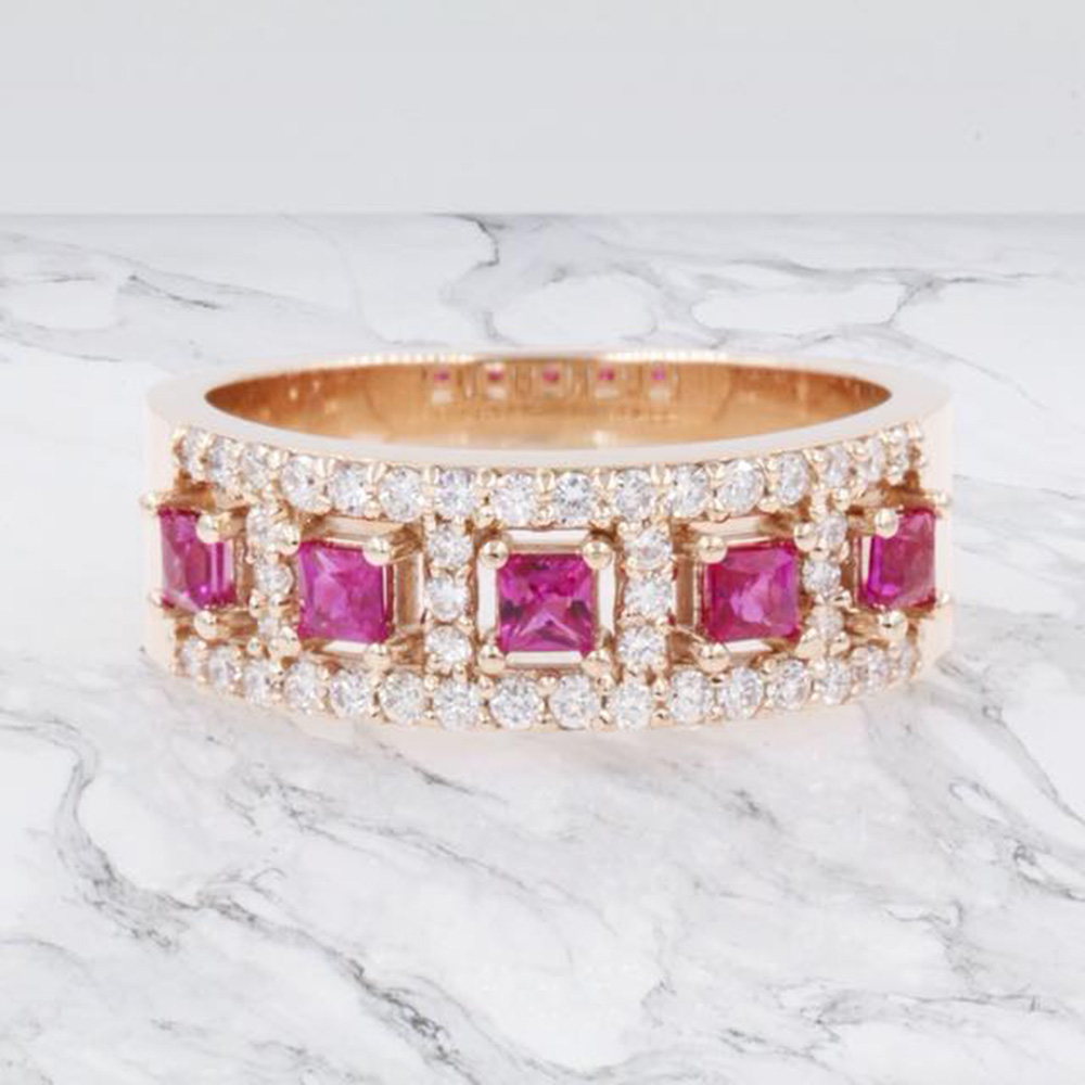 princess cut halo diamond wedding band with pink sapphire in FDWB866BGSADRPIANGLE1 NL RG