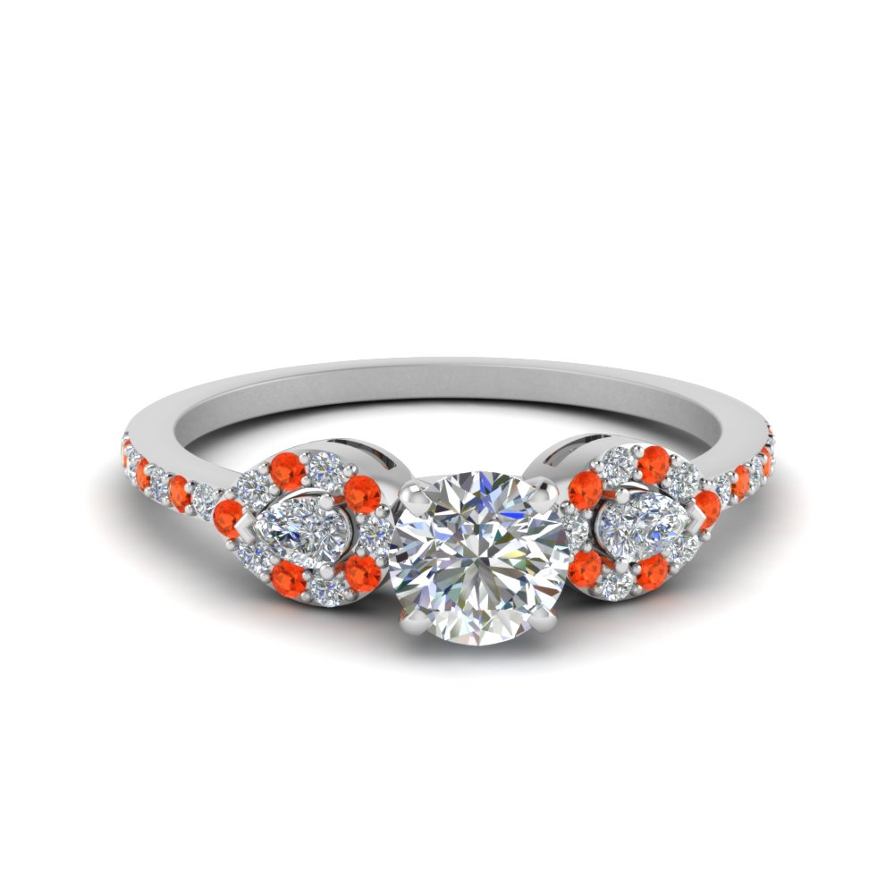 Round 3 Stone Diamond Halo Engagement Ring With Orange Topaz In 18K White Gold