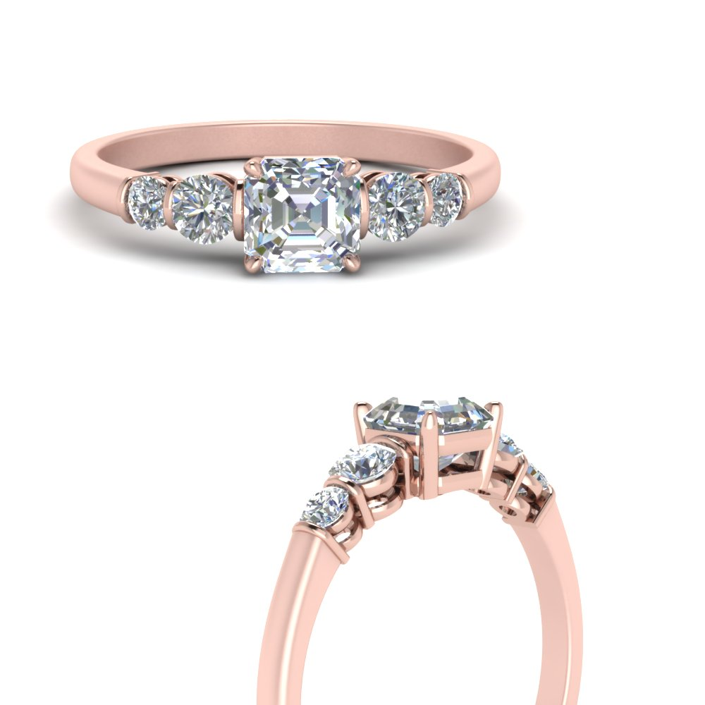 round accent bar set asscher cut diamond engagement ring in rose gold FDENS3072ASRANGLE3 NL RG