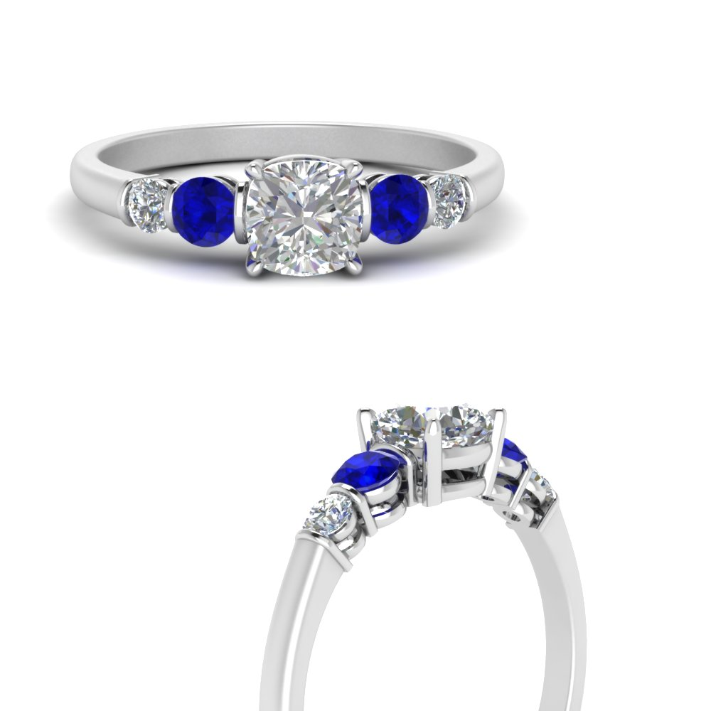 round accent bar set cushion cut diamond engagement ring with sapphire in white gold FDENS3072CURGSABLANGLE3 NL WG