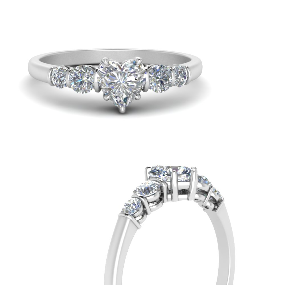 Low Porfile Bar Set Diamond Engagement Ring