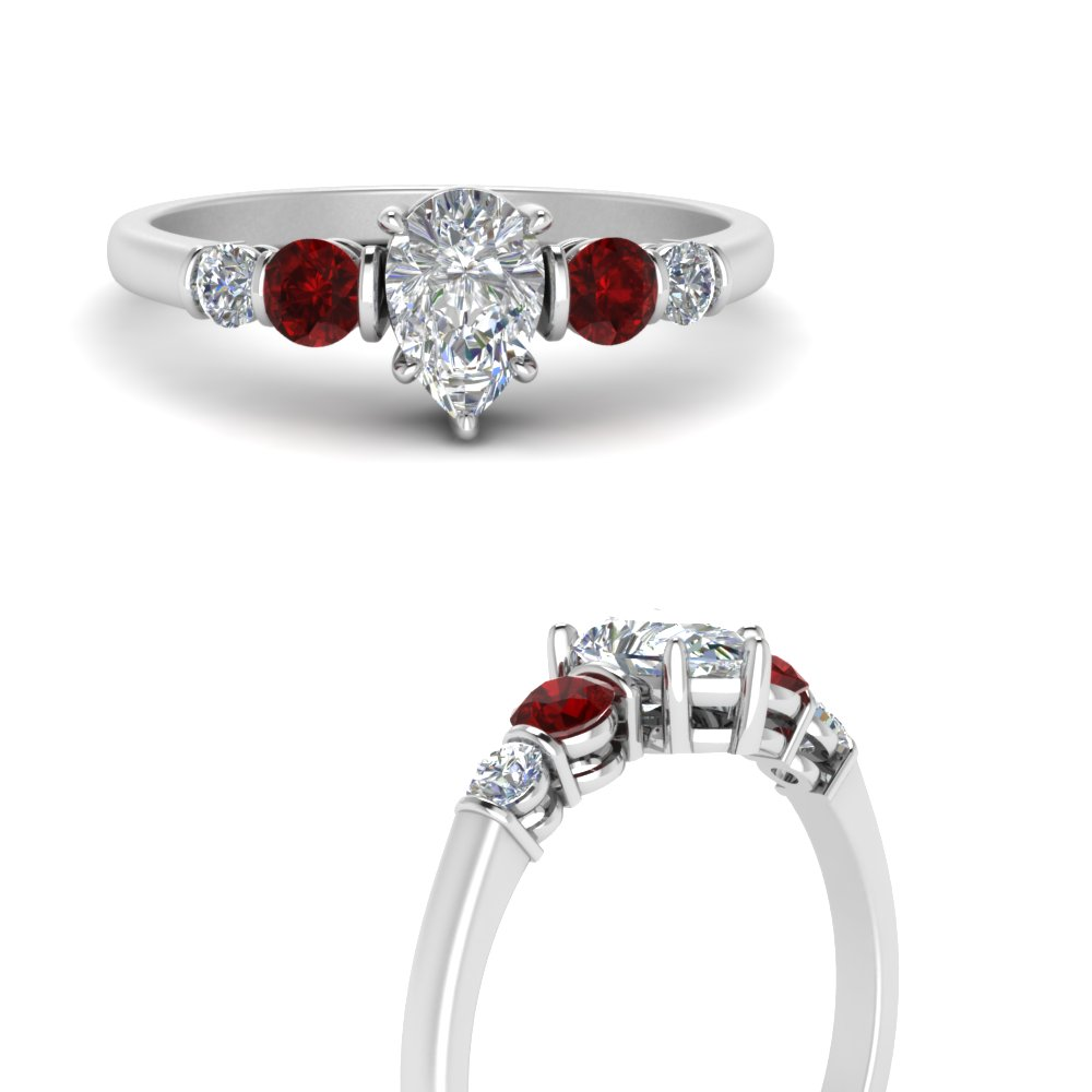 round accent bar set pear shaped diamond engagement ring with ruby in white gold FDENS3072PERGRUDRANGLE3 NL WG