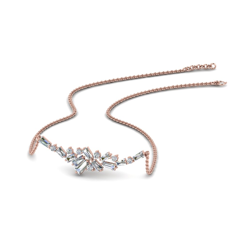 Round And Baguette Cluster Diamond Necklace In 14K Rose Gold